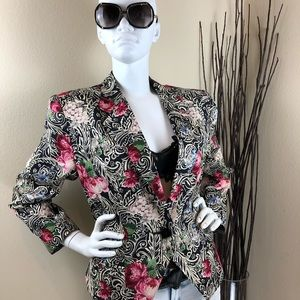 Vintage Filigree and Floral 100% Silk Blazer